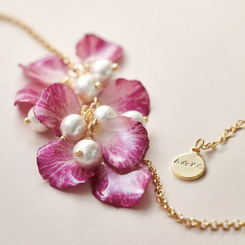 《硬膠花癡AGFC》(受注製作)全立體真花製作 花瓣棉棉珠 24K鍍金項鍊 項鏈 頸鍊 頸鏈