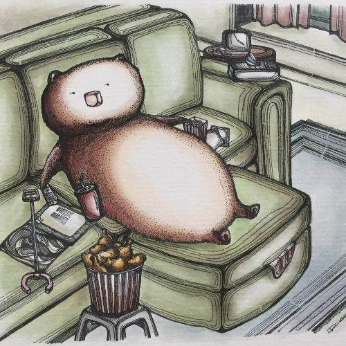 怠懶熊的下午  明信片畫作