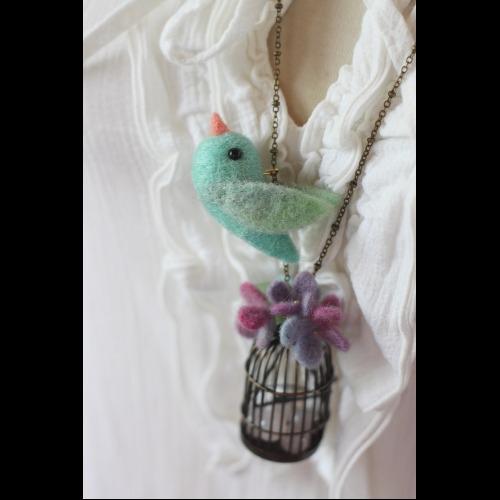 手染青鳥繡球花項鍊 粉嫩色系 目前有現貨 可直接下標