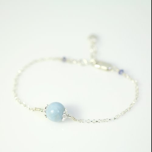海水藍寶/海藍寶石〈Aquamarine / Beryl〉純銀手鍊【ColorDay】