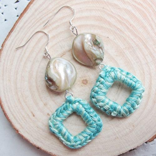 貝殼手勾棉線耳環