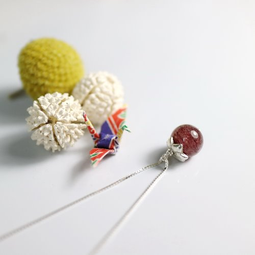 士多啤梨水晶925純銀項鍊〈Strawberry Quartz / Fire Quartz Silver Necklace〉【ColorDay】