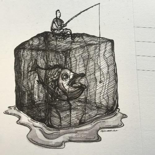冰塊上的釣魚翁  明信片畫作