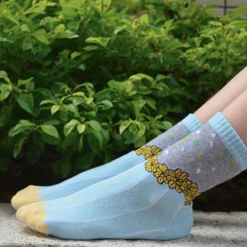 Light Blue Yellow Heart Origami Socks