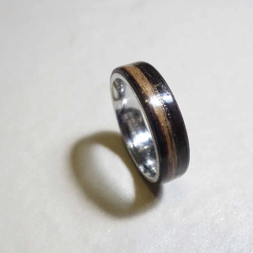 木頭戒指/黑檀木鋼戒