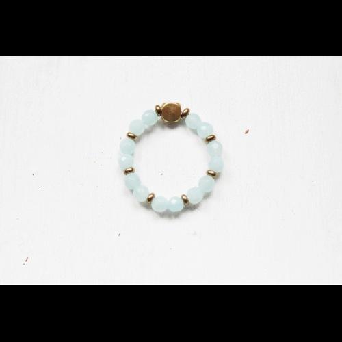 Amazonston天河石經典天然石彈性戒指