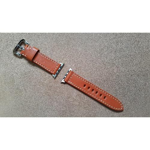 手工縫製 - 24mm i watch 深橙色皮革錶帶 (For 42mm Dial)