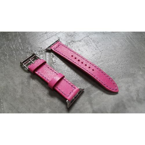 手工縫製 - 20mm i watch粉紅色皮革錶帶 (For 38mm Dial)