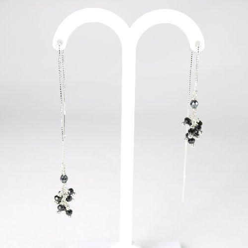 黑尖晶石純銀耳鏈式耳環〈Spinel Silver Earring〉【ColorDay】