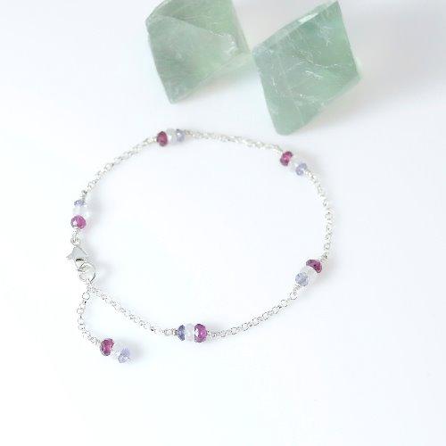 漫步里昂~法式純銀手鍊(丹泉石_石榴石_月光石)〈Tanzanite_Moon Stone_Garnet Silver Bracelet〉【ColorDay】