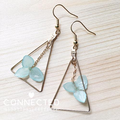 Tiffany Blue 冰藍綉球花耳環