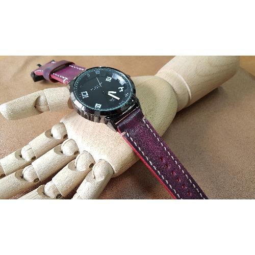 手工縫製 - 擦蠟粉紅皮革錶帶時計