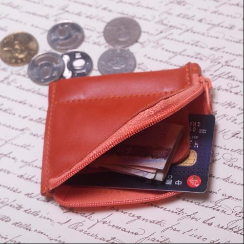 『玩皮女孩』橘色_拉鍊零錢包,卡夾,票夾,零錢包,錢包