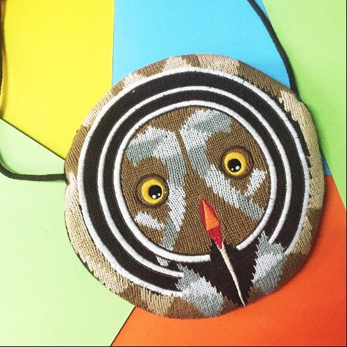 貓頭鷹羊毛針織斜背小袋子