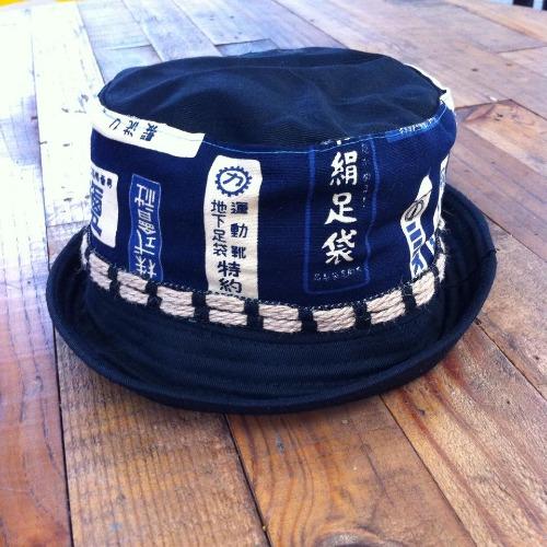 藍色日本圖騰漁夫帽 雙面戴