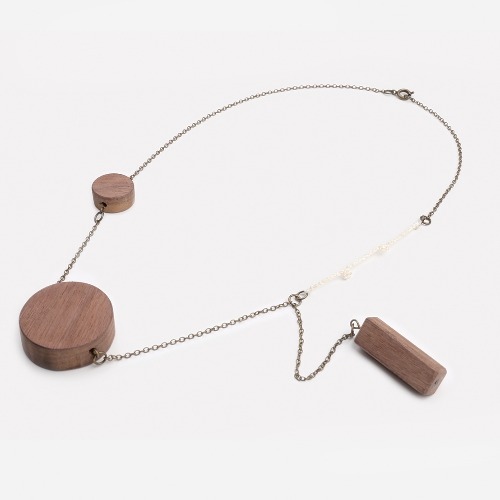 木塊頸鏈連胸針素材套裝 / Wooden Pendant Necklace With Brooch