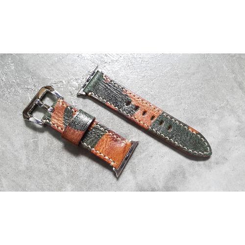 手工縫製 - 24mm i watch 迷彩皮革錶帶 (For 42mm Dial)