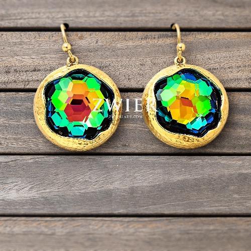 彩虹色圓形琉璃鍍金耳環