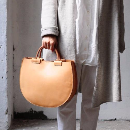 手縫皮革簡約手提包