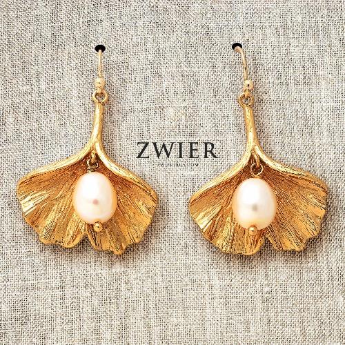 銀杏葉珍珠耳環
