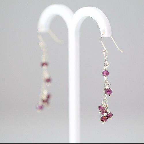 石榴石純銀耳環〈Garnet Silver Earring〉【ColorDay】
