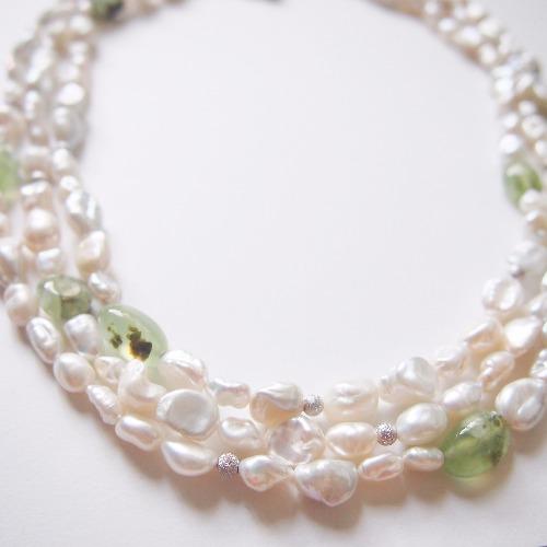 葡萄石【平和之石】 配 不規則天然珍珠項鍊