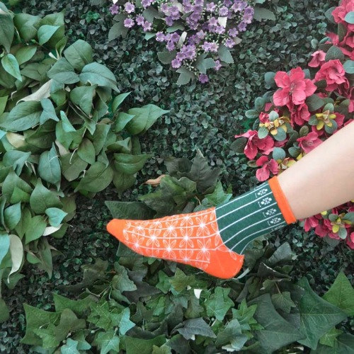 HK Style Orange Green Gate Socks