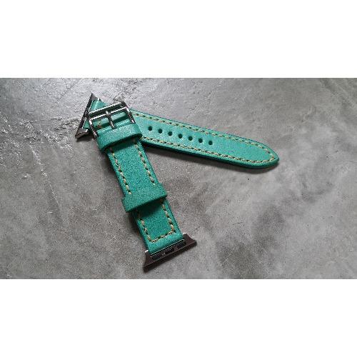 手工縫製 - 20mm i watch Tiffany Blue 皮革錶帶 (For 38mm Dial)