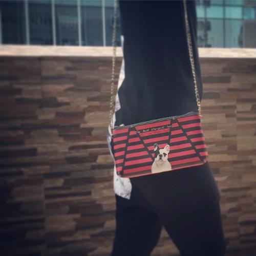 SHUKI 法國老虎狗 手拿斜揹單拉鏈包 Bull Dog Clutch Single Zip Handbag