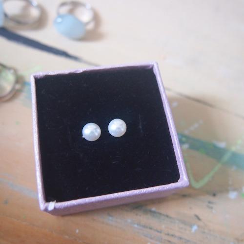 經典天然白珍珠925純銀耳針耳環
