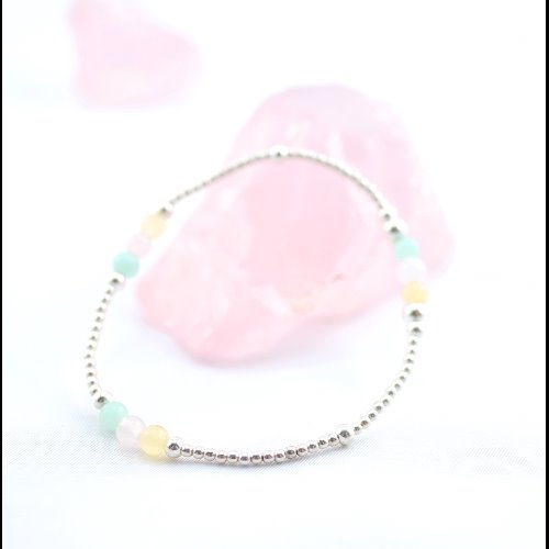 粉水晶+黃玉+天河石純銀彈性手環 (Rose Quartz + Amazonston + Yellow Jade Silver Bracelet )【ColorDay】