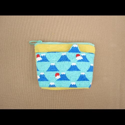 1+1=5/造型口袋零錢包/富士山藍綠