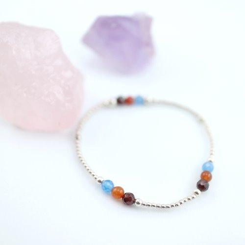 石榴石+藍/橘瑪瑙純銀彈性手環 (Garnet + Agate Silver Bracelet )【ColorDay】