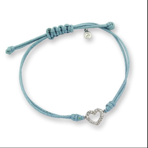 925 sterling silver heart charm wax thread