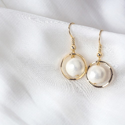 925純銀耳環【Luna棉珍珠穿孔式耳環】