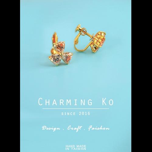 Charming Ko設計經典款香檳鋯石耳夾式耳環