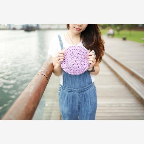 Bujielite Duo Rounded Clutch 淺灰粉紫雙色鈎織圓形小袋子,可訂制