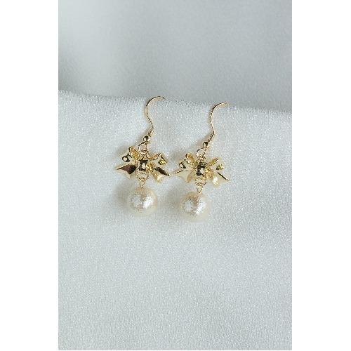 棉珍珠耳環【Bow棉珍珠穿孔式耳環】
