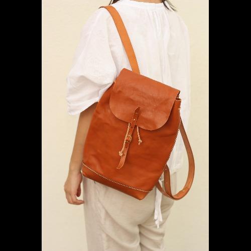 Minimalsite簡約洗水手工縫製後背包/ 雙肩包