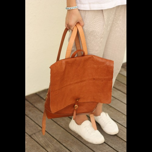 Minimalsite簡約手工縫製後背包/ 雙肩包