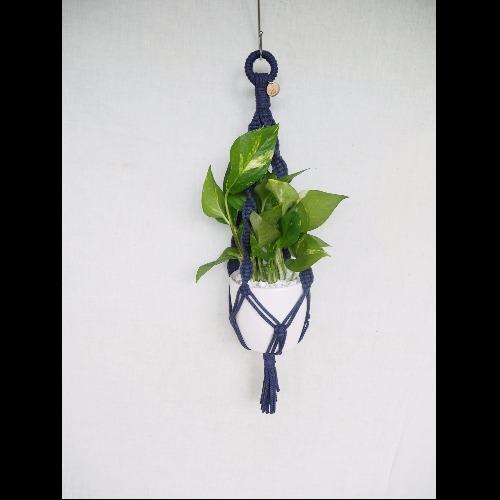 【生活小風景•手工編織植物吊籃•深藍色系•縲旋編織花紋•Medium 】