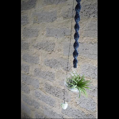 【生活小風景•手工編織空氣鳳梨玻璃花器•球型•深藍色】