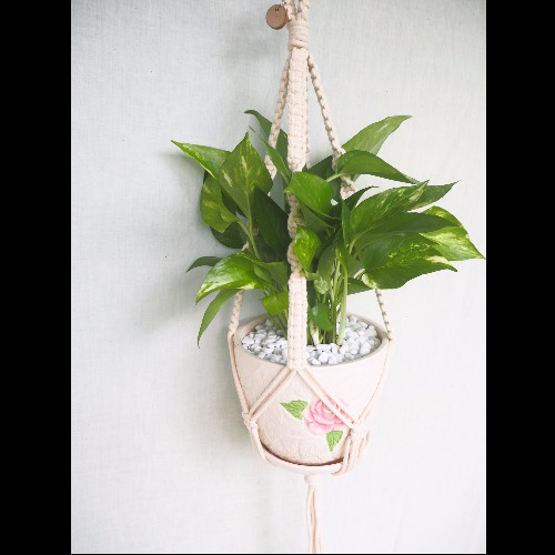 【生活小風景•手工編織植物吊籃•象牙白•平結編織花紋•Medium】
