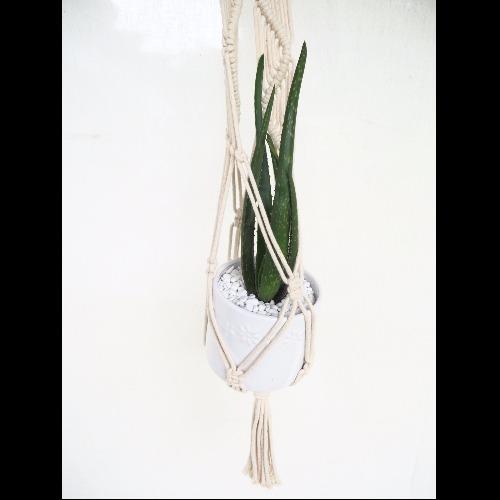 【生活小風景•手工編織植物吊籃•象牙白•蝴蝶編織花紋】