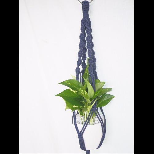 【生活小風景•手工編織植物吊籃•深藍色系•縲旋編織花紋•Long 】