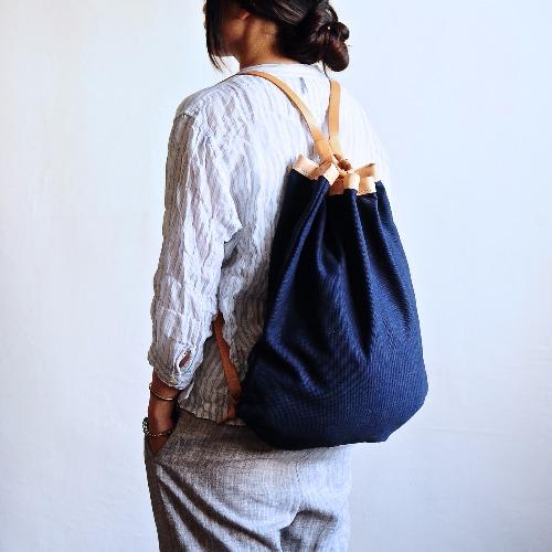 簡約皮革束繩帆布包 雙肩包 背包 旅行包 2016新款(輕便版)