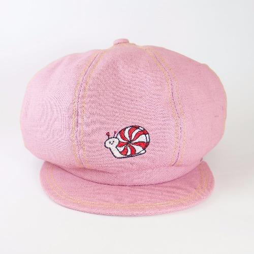 粉紅亞麻報童帽 / 薄荷糖蝸牛