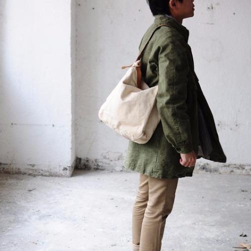 簡約洗水做舊皮革帆布包