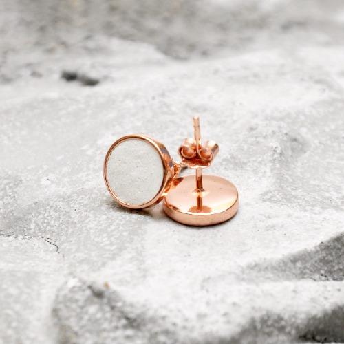 白水泥圓形銀耳環(玫瑰金) - 幾何系列