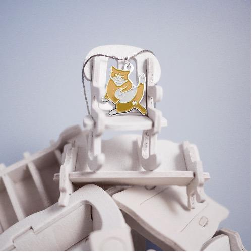 黃白 面具 貓 銀色 頸鏈 項鍊 首飾 金玉敬禮